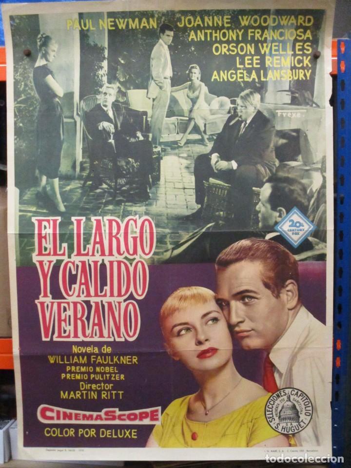 CARTEL ORIGINAL DE EPOCA - EL LARGO Y CALIDO VERANO - PAUL NEWMAN - ORSON WELLES - 100 X 70 (Cine- Posters y Carteles - Drama)
