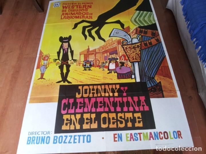 JOHNNY Y CLEMENTINA EN EL OESTE - ANIMACION - POSTER ORIGINAL MAHIER AÑO 1975 (Cine - Posters y Carteles - Westerns)