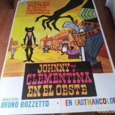 Cine: JOHNNY Y CLEMENTINA EN EL OESTE - ANIMACION - POSTER ORIGINAL MAHIER AÑO 1975. Lote 287756858