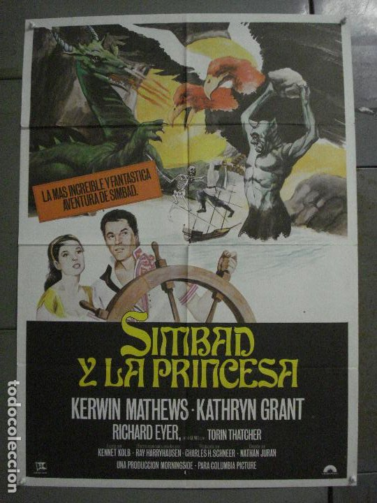 CDO M339 SIMBAD Y LA PRINCESA RAY HARRYHAUSEN KERWIN MATHEWS POSTER ORIGINAL ESPAÑOL 70X100 R-70'S (Cine - Posters y Carteles - Ciencia Ficción)
