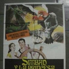 Cine: CDO M339 SIMBAD Y LA PRINCESA RAY HARRYHAUSEN KERWIN MATHEWS POSTER ORIGINAL ESPAÑOL 70X100 R-70'S. Lote 287852158