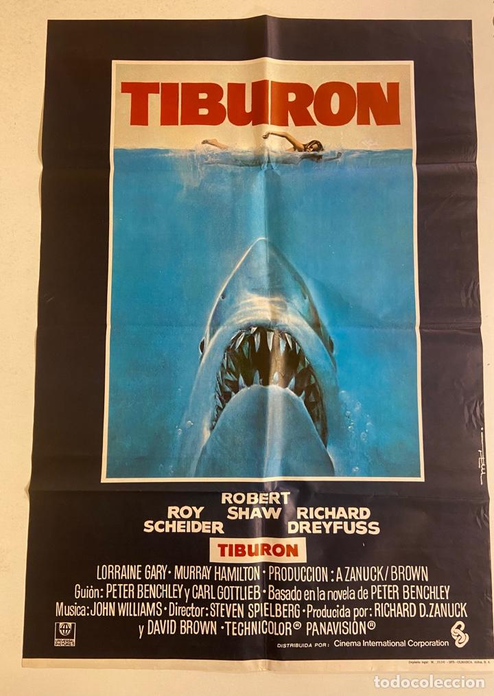 TIBURÓN. CARTEL ORIGINAL 100X70. STEVEN SPIELBERG (Cine - Posters y Carteles - Terror)
