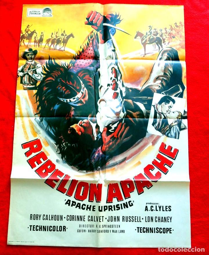 REBELION APACHE CARTEL ORIGINAL EN PERFECTO ESTADO RORI CALHOUN LON CAHENEY CORINNE CALVET (Cine - Posters y Carteles - Westerns)