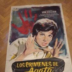 Cine: ANTIGUO CARTEL DE CINE ORIGINAL AÑOS 60, LOS CRÍMENES DE AGATA. Lote 287958238