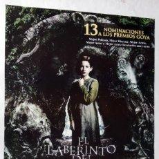 Cine: EL LABERINTO DEL FAUNO, DE GUILLERMO DEL TORO. PÓSTER 67 X 97. 2006.. Lote 288007723