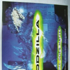 Cine: GODZILLA, CON JEAN RENO. PÓSTER EN INGLÉS 64 X 95 CMS.1998. Lote 288039028