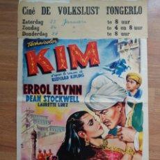 Cine: CARTEL ORIGINAL BELGA KIM, ERROL FLYNN. Lote 288169663