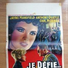 Cine: CARTEL ORIGINAL BELGA JE DEFIE....., JAYNE MANSFIELD. Lote 288170928