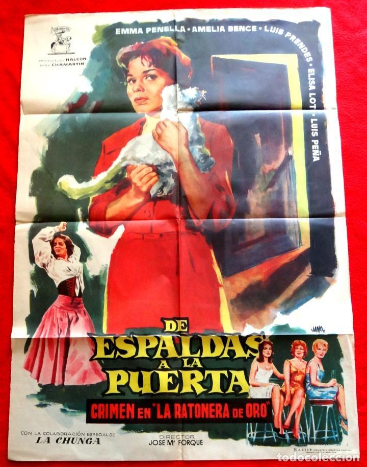 DE ESPALDAS A LA PUERTA CARTEL ORIGINAL EN PERFECTO ESTADO EMMA PENELLA DIRECTOR JOSÉ MARÍA FORQUE (Cine - Posters y Carteles - Clasico Español)