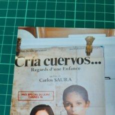 Cine: 77X58 CARTEL PÓSTER AFICHE ORIGINAL CRÍA CUERVOS CARLOS SAURA GERALDINE CHAPLIN ANA TORRENT CANNES76. Lote 288311648
