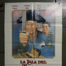 Cine: CDO M489 LA ISLA DEL TESORO CHARLTON HESTON BALE CHRISTOPHER LEE POSTER ORIG 70X100 ESTRENO. Lote 288615793
