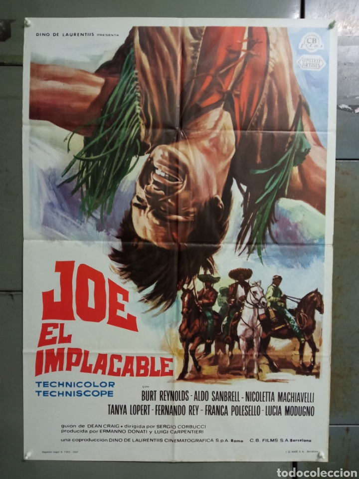 CDO M504 JOE EL IMPLACABLE BURT REYNOLDS FERNANDO REY SPAGHETTI POSTER ORIGINAL 70X100 ESTRENO (Cine - Posters y Carteles - Westerns)
