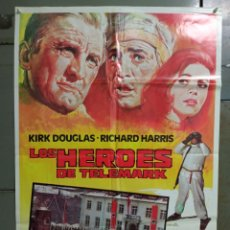 Cine: CDO M508 LOS HEROES DE TELEMARK KIRK DOUGLAS RICHARD HARRIS POSTER ORIGINAL 70X100 R-83. Lote 288621113