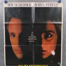 Cine: BAJO SOSPECHA. ROY SCHEIDER, MERYL STREEP, JESSICA TANDY. AÑO 1982. POSTER ORIGINAL. Lote 289304408