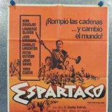 Cine: ESPARTACO. KIRK DOUGLAS, TONY CURTIS, LAURENCE OLIVIER, PETER USTINOV AÑO 1981. POSTER ORIGINAL. Lote 289305188