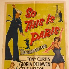 Cine: SO THIS IS PARIS. CARTEL ORIGINAL USA ONE SHEET. 104X69. RICHARD QUINE. Lote 290031948