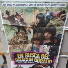 Cine: EN BUSCA DEL DRAGÓN DORADO JESS FRANCO POSTER ORIGINAL 85X56 APROX M11. Lote 290051188