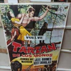 Cine: TARZAN DE LOS MONOS JOHNNY WEISSMULLER POSTER ORIGINAL 70X100 M67. Lote 290248288