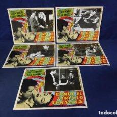 Cine: SARA MONTIEL Y RAUL RAMIREZ 5 LOBBY CARDS MEXICANAS DONDE EL CIRCULO TERMINA 30 X 36 CM. Lote 291148913