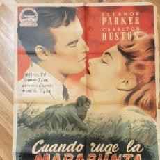 Cine: CUANDO RUGE LA MARABUNTA - CHARLTON HESTON, ELEANOR PARKER - POSTER ORIGINAL 70X100 ESTRENO 1954. Lote 291350563