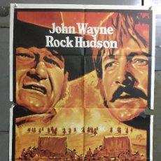 Cine: CDO M841 LOS INDESTRUCTIBLES JOHN WAYNE ROCK HUDSON MAC POSTER ORIGINAL 70X100 ESPAÑOL R-77. Lote 291507323