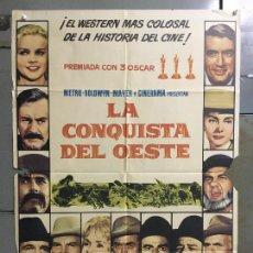 Cine: CDO M921 LA CONQUISTA DEL OESTE JOHN WAYNE DEBBIE REYNOLDS CINERAMA POSTER ORIGINAL 70X100 ESTRENO. Lote 292544678