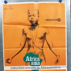 Cine: AFRICA AMA ALFREDO CASTIGLIONI, ANGELO CASTIGLIONI. DOCUMENTAL PELÍCULA MONDO AÑO 1978 POSTER ORIGIN. Lote 292567798