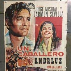 Cine: CDO M941 UN CABALLERO ANDALUZ CARMEN SEVILLA JORGE MISTRAL TOROS POSTER ORIGINAL 70X100 R-69. Lote 293373373