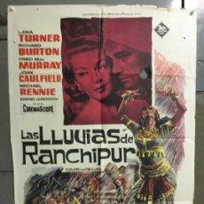 Cine: CDO M947 LAS LLUVIAS DE RANCHIPUR LANA TURNER RICHARD BURTON POSTER ORIGINAL 70X100 ESTRENO. Lote 293416063