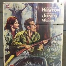 Cine: CDO M949 PASION BAJO LA NIEBLA CHARLTON HESTON JENNIFER JONES JANO POSTER ORIGINAL 70X100 ESTRENO. Lote 293417213