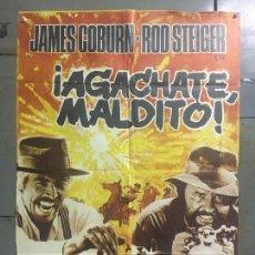 Cine: CDO M952 AGACHATE MALDITO SERGIO LEONE JAMES COBURN POSTER ORIGINAL 70X100 ESTRENO. Lote 293418798