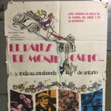 Cine: CDO M963 EL RALLY DE MONTECARLO AUTOMOVILISMO TONY CURTIS POSTER ORIGINAL 70X100 ESTRENO. Lote 293423288