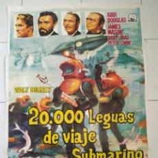 Cine: ABK45 20000 LEGUAS DE VIAJE SUBMARINO WALT DISNEY JULIO VERNE POSTER ORIGINAL 70X100 ESPAÑOL. Lote 293454058