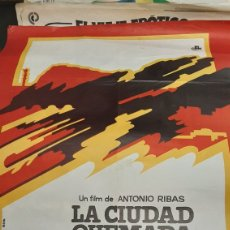 Cine: 70X 1 METRO LA CIUDAD QUEMADA CARTEL ORIGINAL 1976 GROBES FILM ANTONIO RIBAS. Lote 293628738