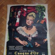 Cinema: ANTIGUA CARTELERA DE CINE ORIGINAL ENTELADA 1952, ESTREN EN FRANCIA CASQUE D0R. Lote 293883738