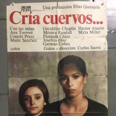 Cine: CDO N077 CRIA CUERVOS CARLOS SAURA ANA TORRENT GERALDINE CHAPLIN POSTER ORIGINAL 70X100 ESTRENO. Lote 294172718