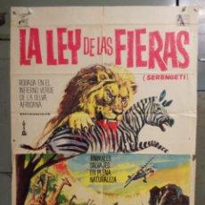 Cine: CDO N109 LA LEY DE LAS FIERAS DOCUMENTAL AFRICA SALVAJE SERENGETI POSTER ORIGINAL 70X100 ESTRENO. Lote 294384668