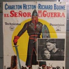 Cine: CDO N105 EL SEÑOR DE LA GUERRA CHARLTON HESTON RICHARD BOONE POSTER ORIGINAL 70X100 ESTRENO. Lote 294385188