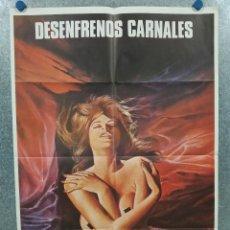 Cine: DESENFRENOS CARNALES. SEXPLOITATION, MANUEL IGLESIAS. AÑO 1982. POSTER ORIGINAL CLASIFICADA S. Lote 294948988