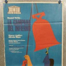 Cine: LA CAMPANA DEL INFIERNO. RENAUD VERLEY, VIVECA LINDFORS, ALFREDO MAYO AÑO 1976. POSTER ORIGINAL. Lote 295295723