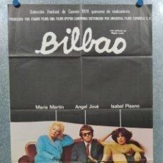 Cine: BILBAO. ÁNGEL JOVE, MARÍA MARTÍN, ISABEL PISANO. BIGAS LUNA. AÑO 1977. POSTER ORIGINAL.. Lote 295310038