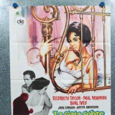 Cine: LA GATA SOBRE EL TEJADO DE ZINC. ELIZABETH TAYLOR, PAUL NEWMAN. AÑO 1972. POSTER ORIGINAL. Lote 295488833