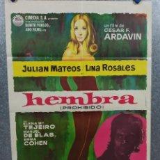 Cine: HEMBRA. JULIÁN MATEOS, LINA ROSALES, ELENA MARÍA TEJEIRO, EMMA COHEN AÑO 1970 POSTER ORIGINAL. Lote 296688113