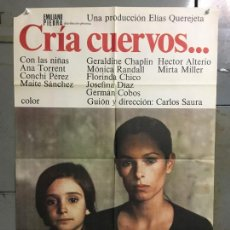 Cine: CDO N280 CRIA CUERVOS CARLOS SAURA ANA TORRENT GERALDINE CHAPLIN POSTER ORIGINAL 70X100 ESTRENO. Lote 296691023