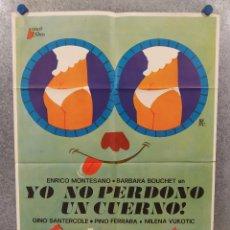 Cine: YO NO PERDONO UN CUERNO. ENRICO MONTESANO, BARBARA BOUCHET. AÑO 1976. POSTER ORIGINAL. Lote 296838648