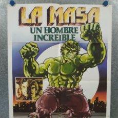 Cine: LA MASA, UN HOMBRE INCREIBLE. EL INCREIBLE HULK. BILL BIXBY, LOU FERRIGNO AÑO 1980. POSTER ORIGINAL. Lote 296839548