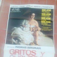 Cine: CARTEL DE CINE 70X 100 APROX MOVIE POSTER VER FOTO GRITOS Y SUSURROS INGMAR BERGMAN. Lote 297031843