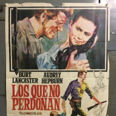 Cine: CDO N367 LOS QUE NO PERDONAN AUDREY HEPBURN BURT LANCASTER POSTER POSTER ORIGINAL 70X100 R-71. Lote 297061308