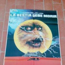 Cine: CARTEL DE CINE 70X 100 APROX MOVIE POSTER VER FOTO LA BESTIA DEBA MORIR JANO PETER CUSHING. Lote 297178403