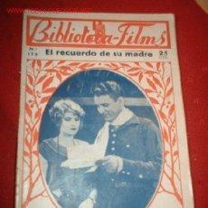 Cine: BIBLIOTECA-FILMS Nº 175 EL RECUERDO DE SU MADRE, POR: FRED THOMSON. Lote 864101
